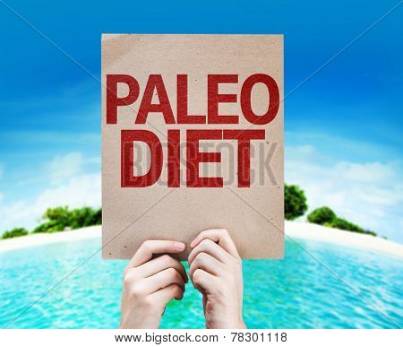 Paleo Diet card with a beach on background