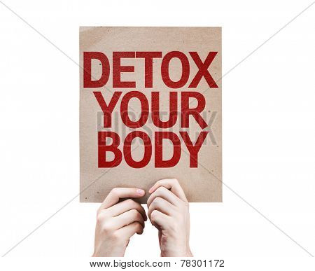 Detox Your Body card isolated on white background