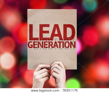 Lead Generation card with colorful background with defocused lights