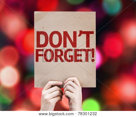 Don't Forget! card with colorful background with defocused lights