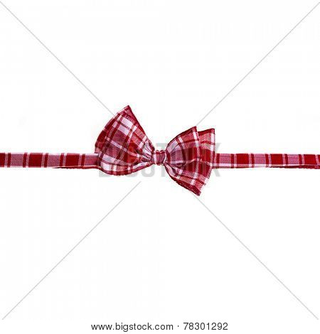 red scottish handmade bow tie isolated on white background