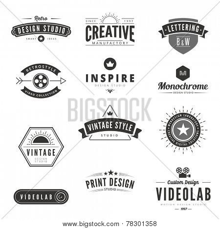 Vintage Retro Logos Labels vector template. Creative Typography Lettering Logo Design.