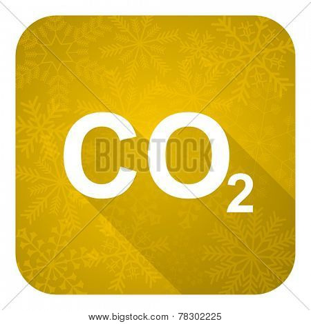 carbon dioxide flat icon, gold christmas button, co2 sign