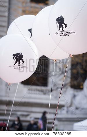 NEW YORK - NOV 11, 2014: A close up of black and white Wounded Warrior Project balloons that were held by vets marching in the 2014 America's Parade on Veterans Day in New York on November 11, 2014.