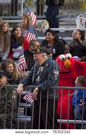 NEW YORK - NOV 11, 2014: A US vet smiles as he watches the 2014 America's Parade held on Veterans Day from the viewing stands on 5th Ave in New York City on November 11, 2014.