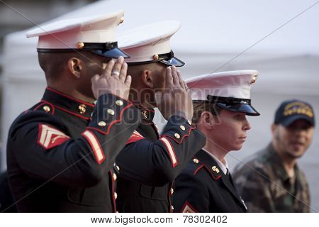 NEW YORK - NOV 11, 2014: Two US Marines salute as they march past the VIP stage during the 2014 America's Parade held on Veterans Day in New York City on November 11, 2014.