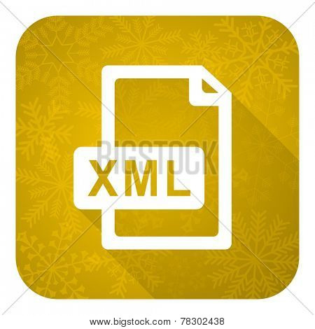 xml file flat icon, gold christmas button