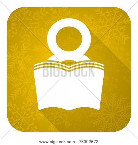 book flat icon, gold christmas button, reading room sign, bookshop symbol