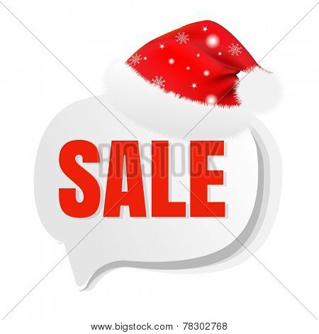 Xmas Sale Speech Bubble With Santa Hat With Gradient Mesh, Vector Illustration
