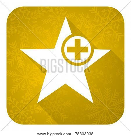 star flat icon, gold christmas button, add favourite sign