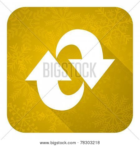 rotation flat icon, gold christmas button, refresh sign