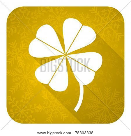 four-leaf clover flat icon, gold christmas button