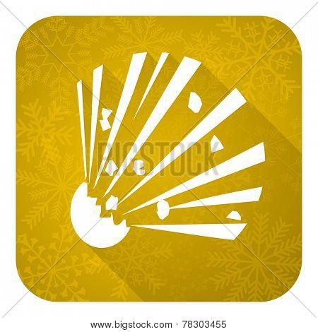 bomb flat icon, gold christmas button