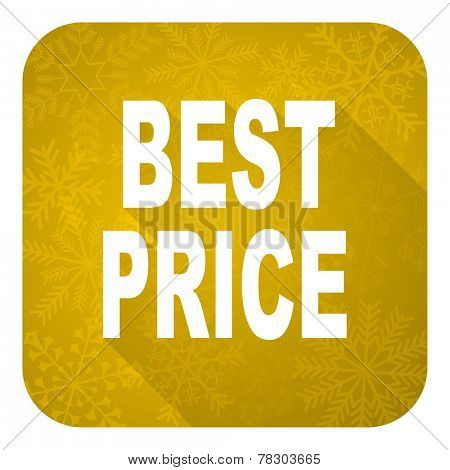 best price flat icon, gold christmas button