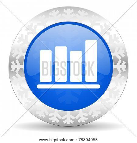 bar chart blue icon, christmas button