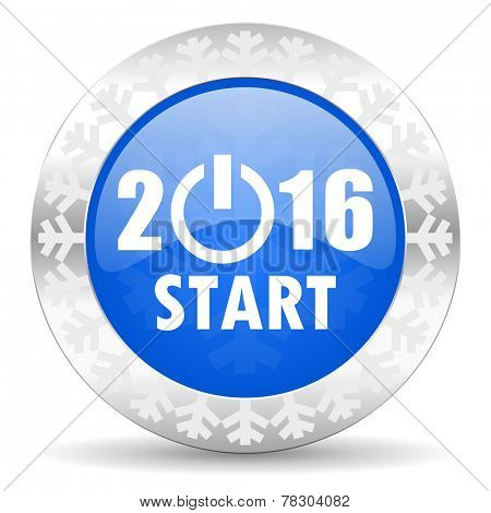 new year 2016 blue icon, christmas button, new years symbol