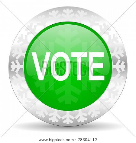 vote green icon, christmas button