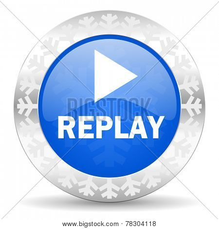 replay blue icon, christmas button