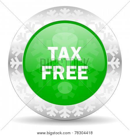 tax free green icon, christmas button