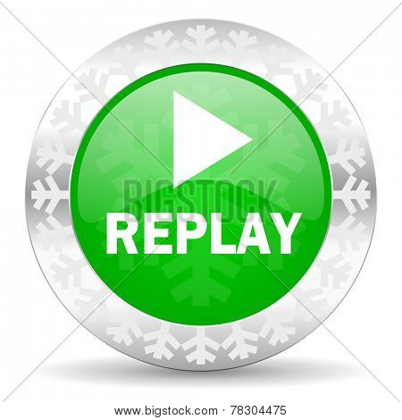 replay green icon, christmas button