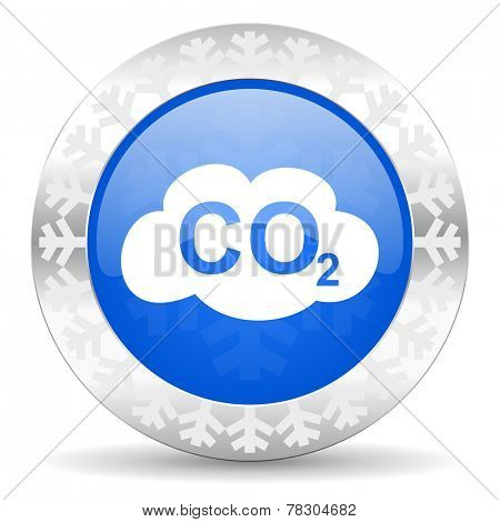 carbon dioxide blue icon, christmas button, co2 sign