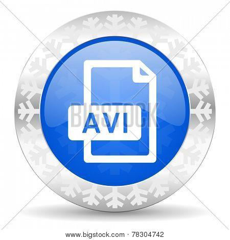 avi file blue icon, christmas button
