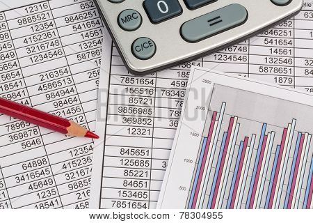 a calculator is on a balance sheet numbers are statistics. photo icon for sales, profits and costs.