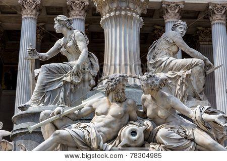 parliament in vienna, austria. seat of government. fountain
