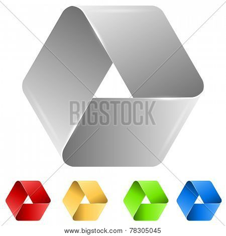 Abstract triangle paper icon isolated on white background.