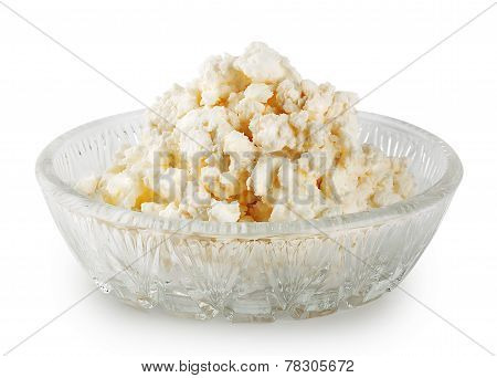 Fresh Delicious Cottage Cheese In A Glass Dish