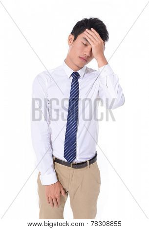 Young businessman worried with a bad business,