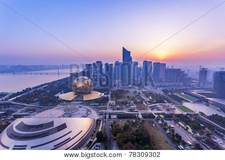 modern cityscape and traffics during dawn