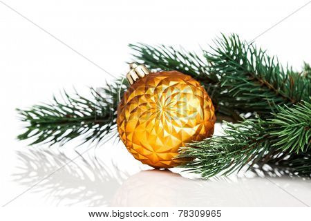 Christmas ball with green fir