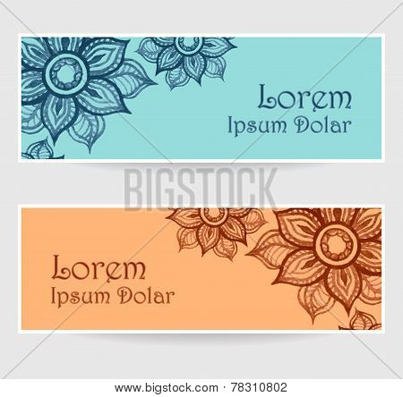 Banners with water color abstract flowers in blue orange brown