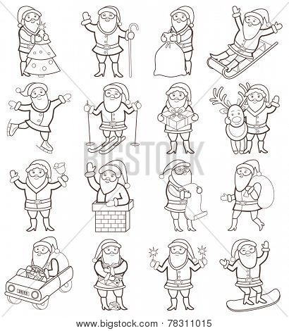 Set of christmas icons with Santa Claus (coloring book)