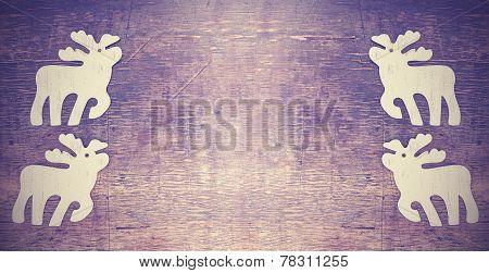 Vintage Background, Christmas Moose On Wooden Background.