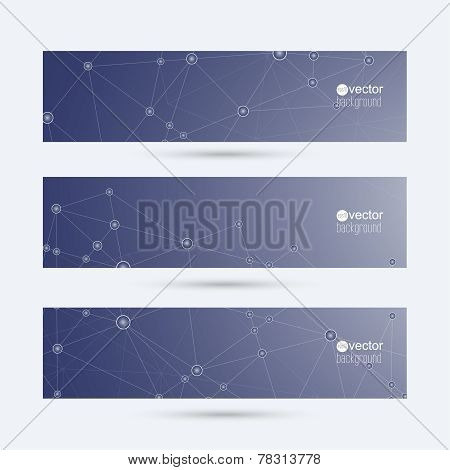 Blue abstract horizontal banners