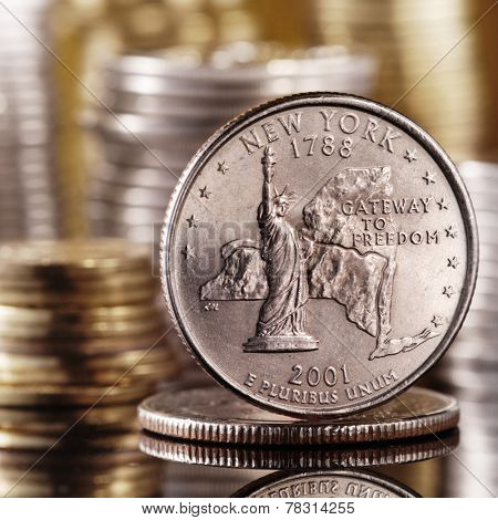 quarter dollar on glass table