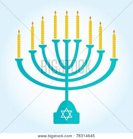 jewish holiday Hanukkah background with menorah Burning candles isolated on white
