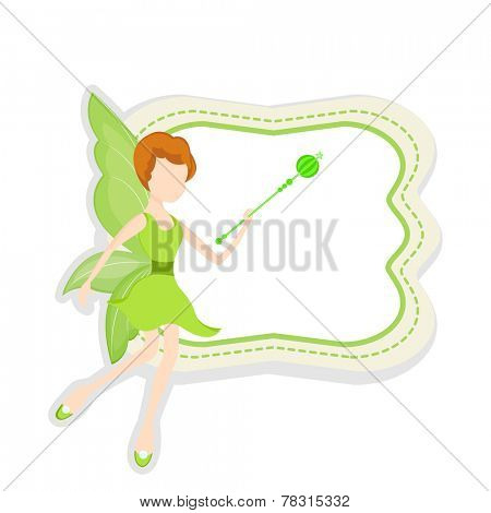 Beautiful young angel in green dress holding magic stick with stylish frame and blank space for your message.