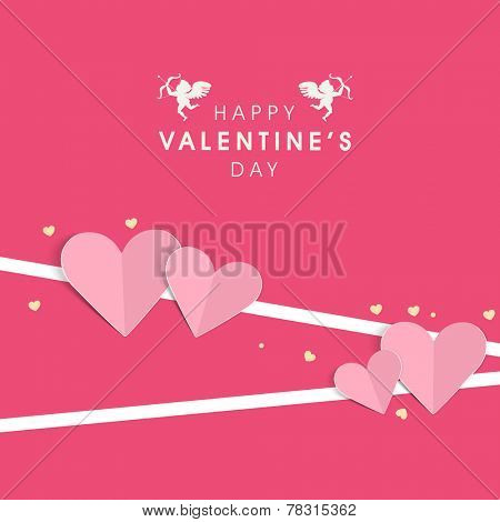 Happy Valentine's Day celebration greeting card design with paper hearts on pink background.