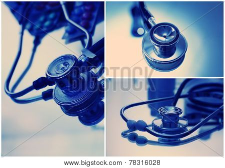 Collage of medical images. Cardiology concept