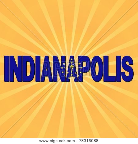 Indianapolis flag text with sunburst illustration