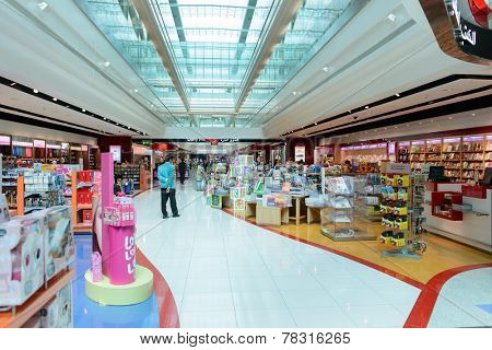 DUBAI, UAE - MARCH 31: duty free zone in airport on March 31, 2014 in Dubai. Dubai International Airport is an international airport serving Dubai. It is a major airline hub in the Middle East
