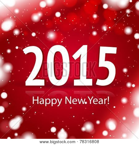 2015 Happy New Year card with red snowy background