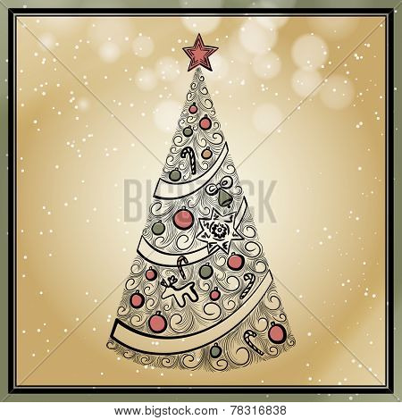 vintage hand drawn christmas tree