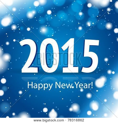 2015 Happy New Year card with blue snowy background