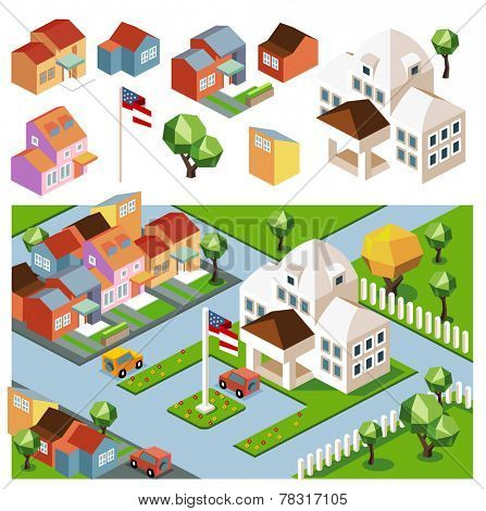 Sunny day neighborhood. isometric vector