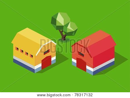 Yellow and red barn. isometric vector