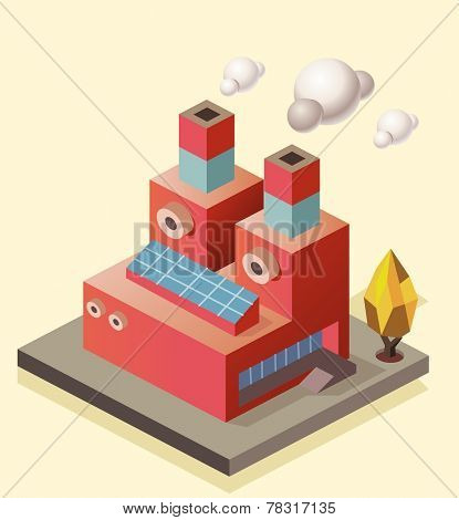 Manufacture Factory building. isometric vector illustration